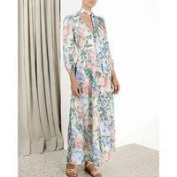 2019 summer linen long dress bohemian dress long sleeve v neck print holiday elegant dress