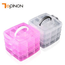 3-layers Detachable DIY Desktop Storage Box Clear Plastic Storage Box Jewelry Organizer Holder Cabinets For Beads Crafts Case(China)
