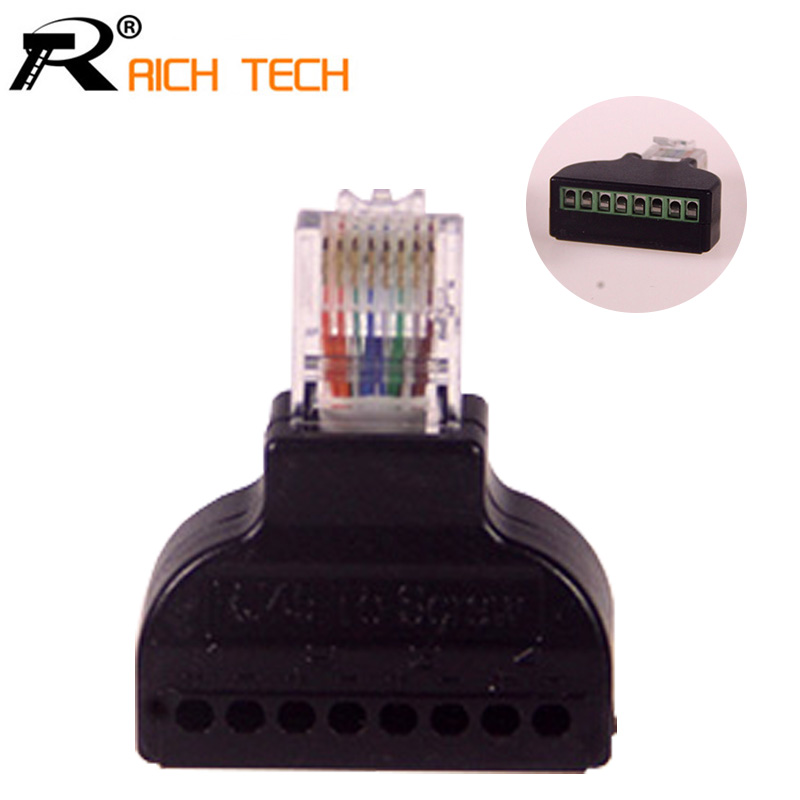 1Pc RJ45 Ethernet Male To 8 Pin AV Terminal Screw Adapter Converter Block Plug CCTV Accessory 8 pin curved screw terminal block connectors green 10 piece pack