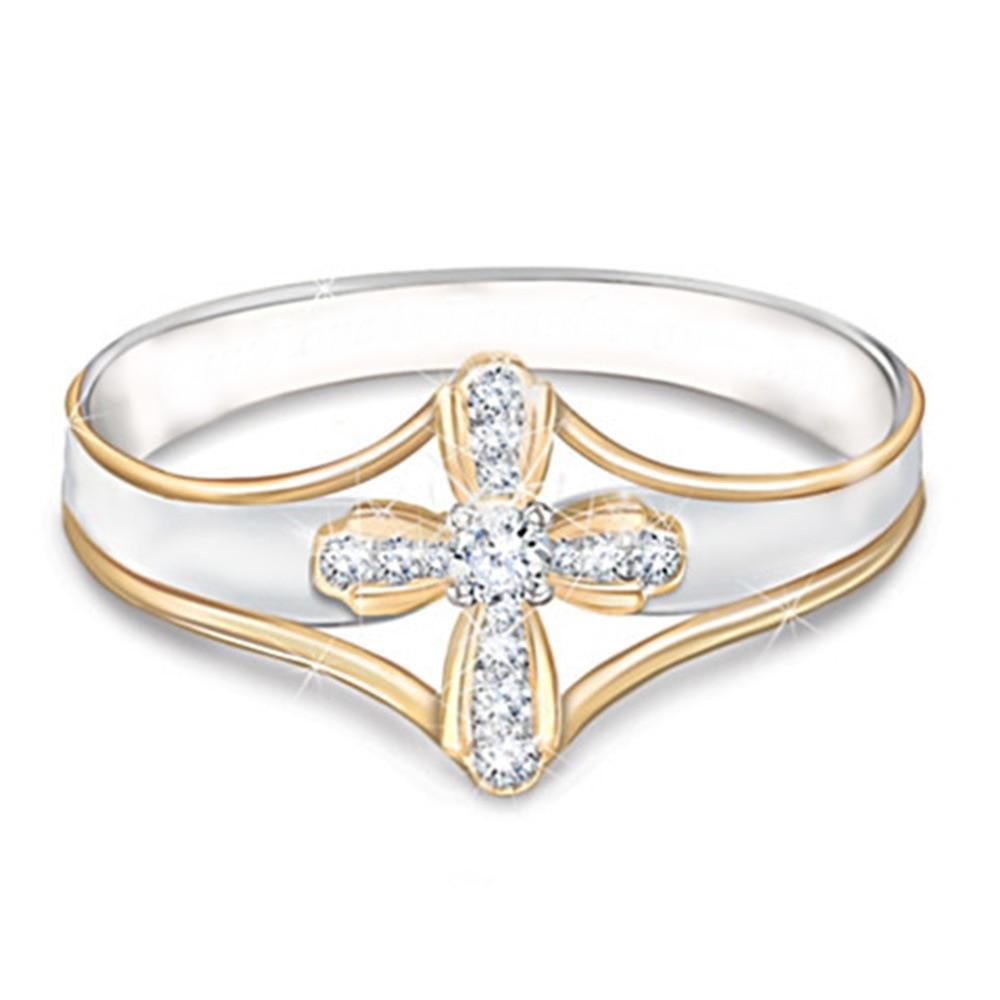 Huitan Trendy Cross Finger Rings Traditional Regious Accessories Decorations Christian Finger Rings Wholesale Lots&Bulk Rings(China)