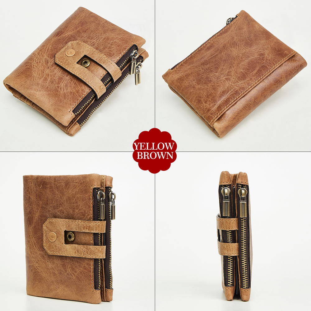 JIULIN Wallet Men Leather Genuine Vintage Coin Purse Zipper&Hasp Men Wallets Small Perse Solid RFID Card Holder Carteira Hombre