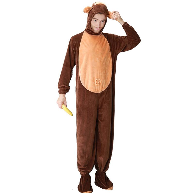 Adult Monkey Costume Men Women Couple Pajamas Winter Animal Warm Thick Jumpsuit Halloween Animal Monkey Clothes Home