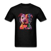 Neon Pitbull Kolorowe Abstrakcyjne Dog Twarz mężczyzna Druku 3d t shirt krótki Rękaw Bawełna Para ud las palmas mężczyzna tshirt suprem ftp