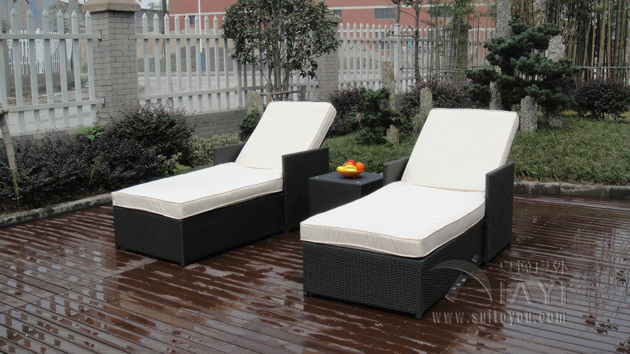 Cheap Plastic Lounge Chairs Barcelona Chair Reproduction 3 Pcs Adjustable Resin Wicker Set Beach Chaise 3054