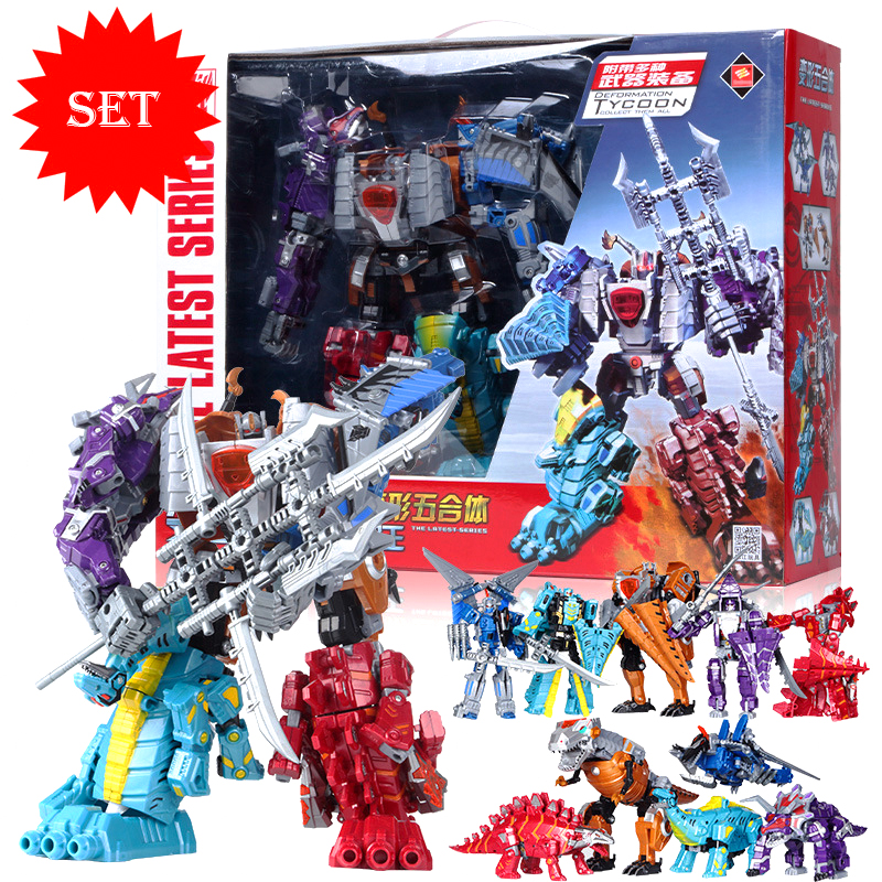 New Jurassic Dinosaur Clan 5 In 1 Action Figure Transformation Robot Children Toys Gifts Dinosaur Ranger Megazord janssen