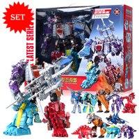New Jurassic Dinosaur Clan 5 In 1 Action Figure Transformation Robot Children Toys Gifts Dinosaur Ranger Megazord