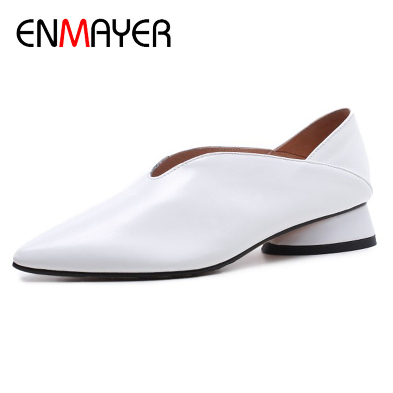 ENMAYER Office Ladies Shoes Woman Shallow Flats Black White Shoes Large Size 34-43 Pointed Toe Genuine Leather Slip-on Shoes women ballerina flats shallow slip on ballet shoes pointed toe flats woman metal heart shape rubber leather black ladies shoes