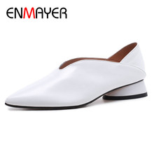 купить ENMAYER Office Ladies Shoes Woman Shallow Flats Black White Shoes Large Size 34-43 Pointed Toe Genuine Leather Slip-on Shoes по цене 3146.69 рублей
