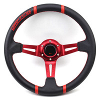 PVC Drfting Racing Steering Wheel 350mm 14inch Red Gold Blue Titanium Black Spoke Modified Sport Car Steering Wheel