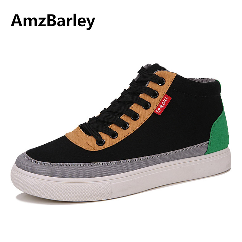 AmzBarley Men Shoes Canvas Shoe Footwear Patchwork Lace Up High Top Casual Trainers Male Hip Hop Zapatillas Deportivas Hombre 2017 new arrival spring men casual shoes mens trainers breathable mesh shoes male hombre hip hop street shoes high quality