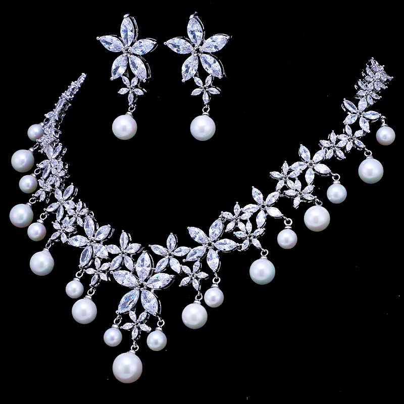 EMMAYA Pearl Costume Women Jewelry Sets White CZ Earrings/Pendant Necklace Luxury Bridal Wedding Jewelry