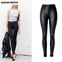 2016 Autumn Women S Slim Faux Leather Trousers Fashion Ladies Stretch PU Biker Pencil Pants Black