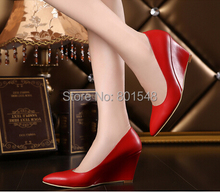 10pairs/lot wholesales Lady Fashion Point Toe Dress Shoes Elegant Women High Heel 8cm Wedge Shoes Size 35-39 V035