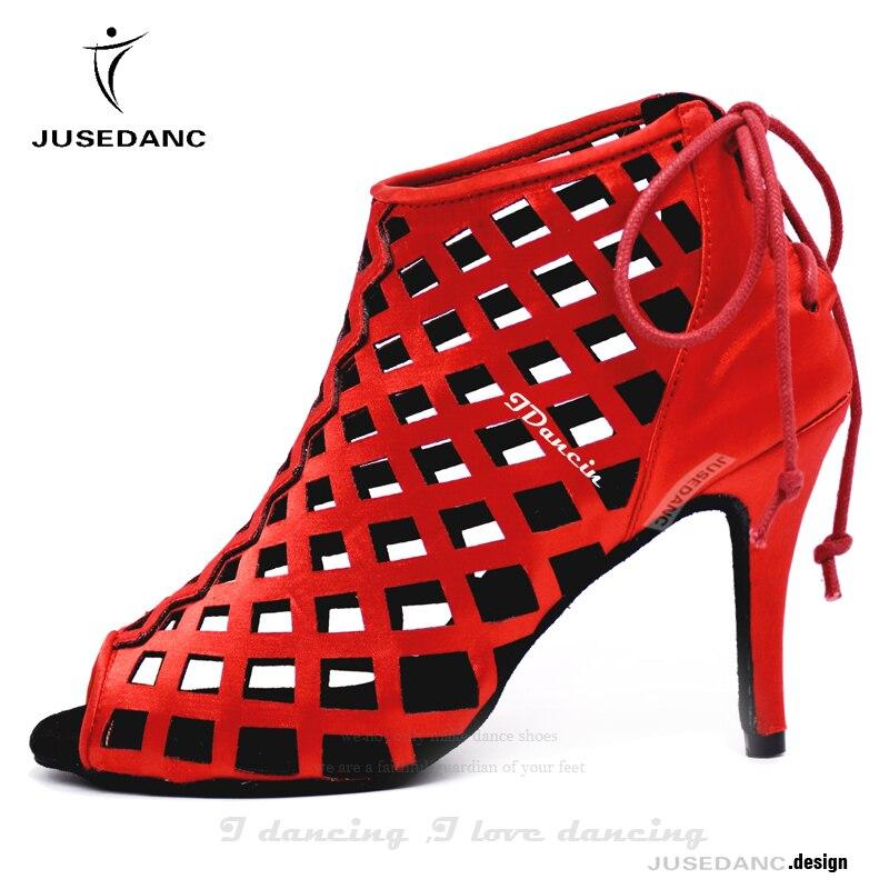 Women Latin Dance Shoes Tango Dance Shoes Wedding Shoes Dance Boots Sneakers Red Fashion Style JuseDanc