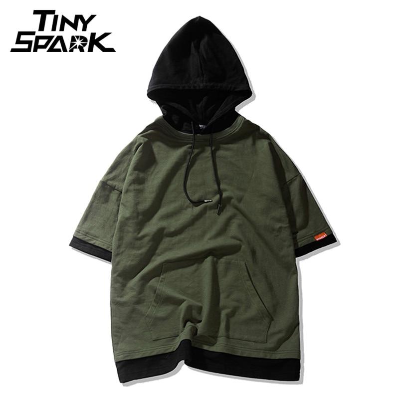 7 Colors Harajuku Hoodie Short Sleeve Mens Plain Hoodies Korean Hip Hop Streetwear New 2018 Spring Casual Sweatshirt Army Green hoodie