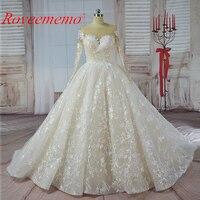 Vestido De Noiva Long Sleeve Ball Gown Vintage Robe De Mariage Special Lace Design Nude Tulle