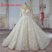Vestido de Noiva long sleeve Ball Gown Vintage Robe De Mariage special lace design nude tulle sleeve wedding dress factory