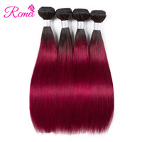 Rcmei Ombre Hair Bundles 1B/Burgundy Dark Roots Brazilian Straight Human Hair Weaving 4Bundle Deal Two Tone Extensions Non Remy