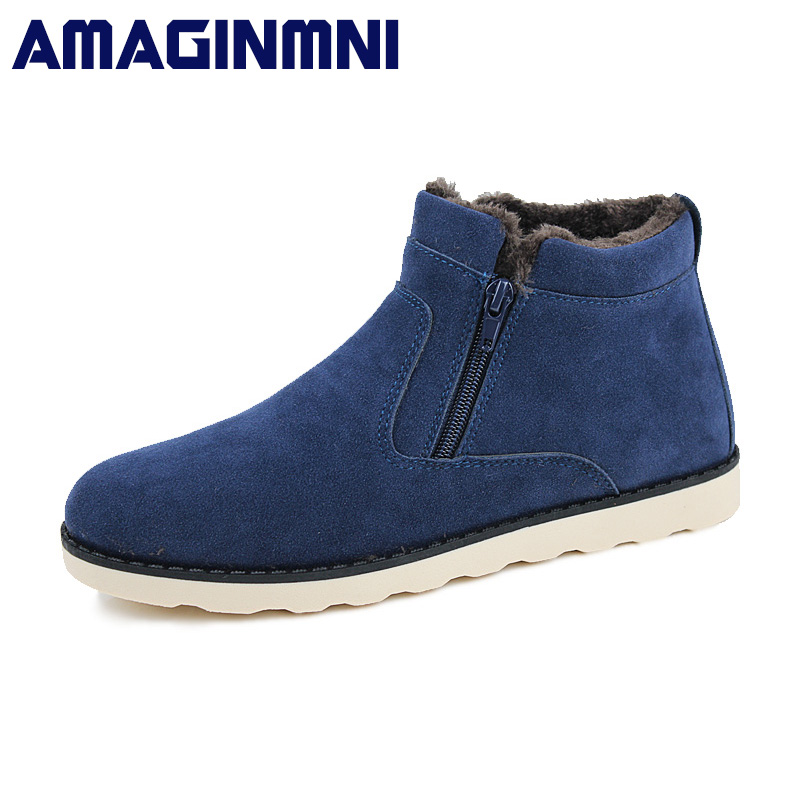 AMAGINMNI Big Size winter boots men warm shoes 2017 Top Fashion New Casual with short plush ankle snow boots zipper men shoes new fashion men basic black winter warm shoes high top nuduck genuine leather luxury brand ankle snow boots flats size 38 44