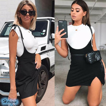 Summer Skirts Women Ladies Short Mini Skirt Preppy Style High Waist Solid Black Stretch Skirt Short Suspender Skirts