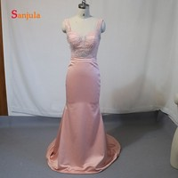 Милое ослепительное вечернее платье с бисером облегающий Топ Длинные атласные вечерние платья Простые Вечерние платья халат soiree D707