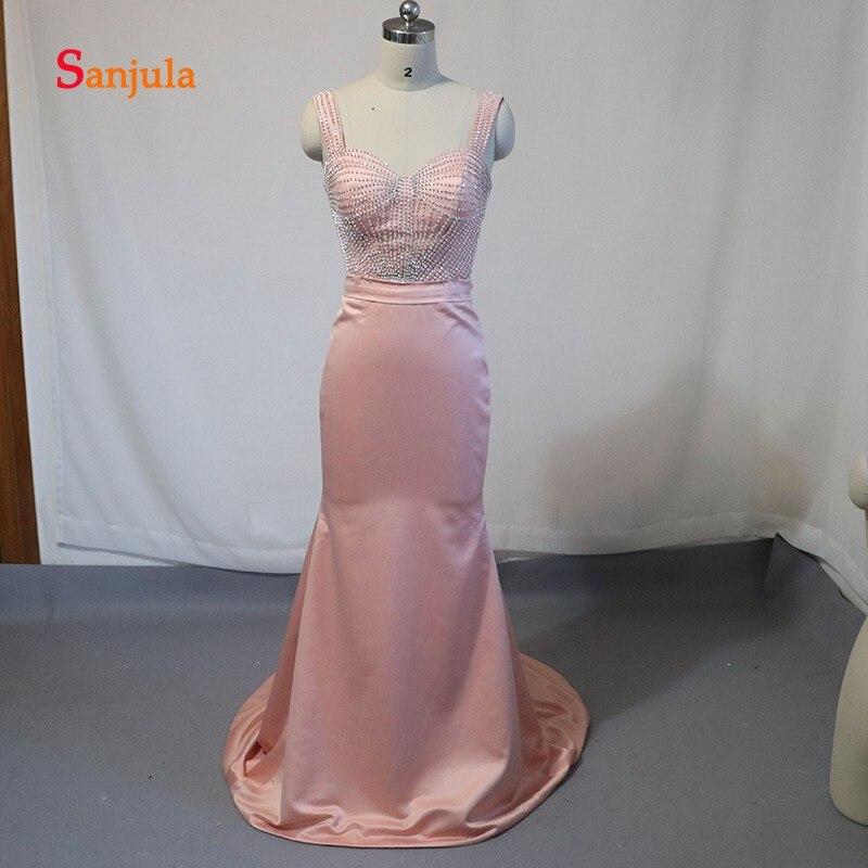 Chérie éblouissante perlée formelle robes de soirée réservoir gaine longues robes de soirée Satin Simple robes de soirée robe soiree D707