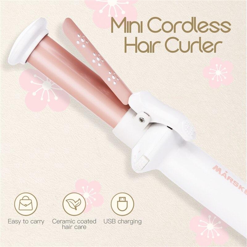 Mini Portable Ceramic Hair Curler USB Rechargeable Flat Hair Curling