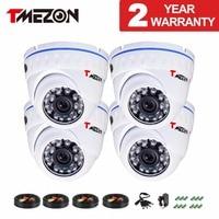 Tmezon AHD 1 0Mega 720P 4 Pack 1200TVL 24 Leds High Definition Waterproof Dome CCTV Security
