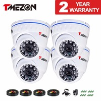 Tmezon AHD 1 0Mega 720P 4 Pack 1200TVL 24 Leds High Definition Waterproof Dome CCTV Security