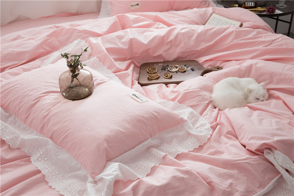 Dekbedovertrek Licht Roze : Katoen stks fancy licht roze beddengoed sets met delicate