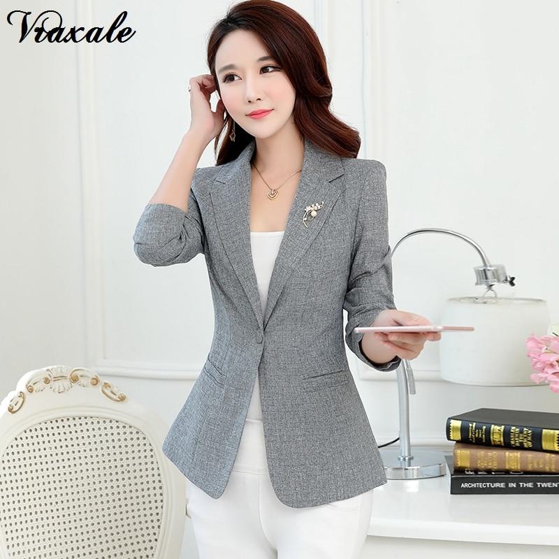 Vraxale 2017 Autumn New Small Suit Lady Short Paragraph Jacket Temperament Long Sleeves Slim Suits Plus