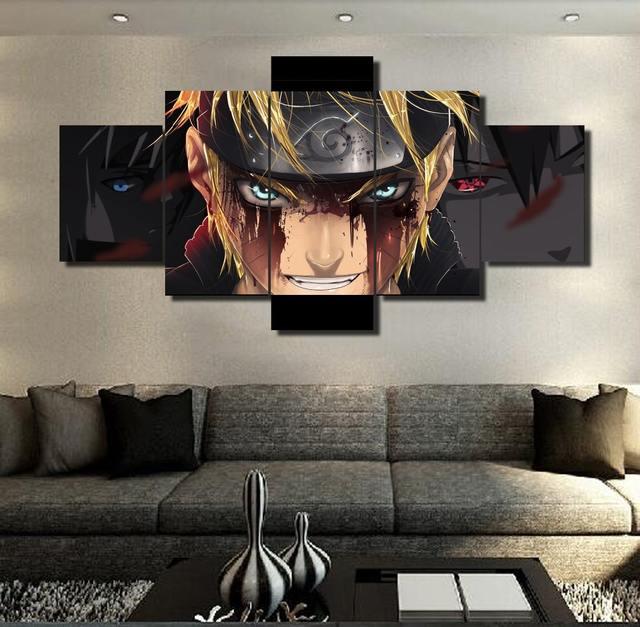 5 Piece Modular Home Decor Wall Art Naruto