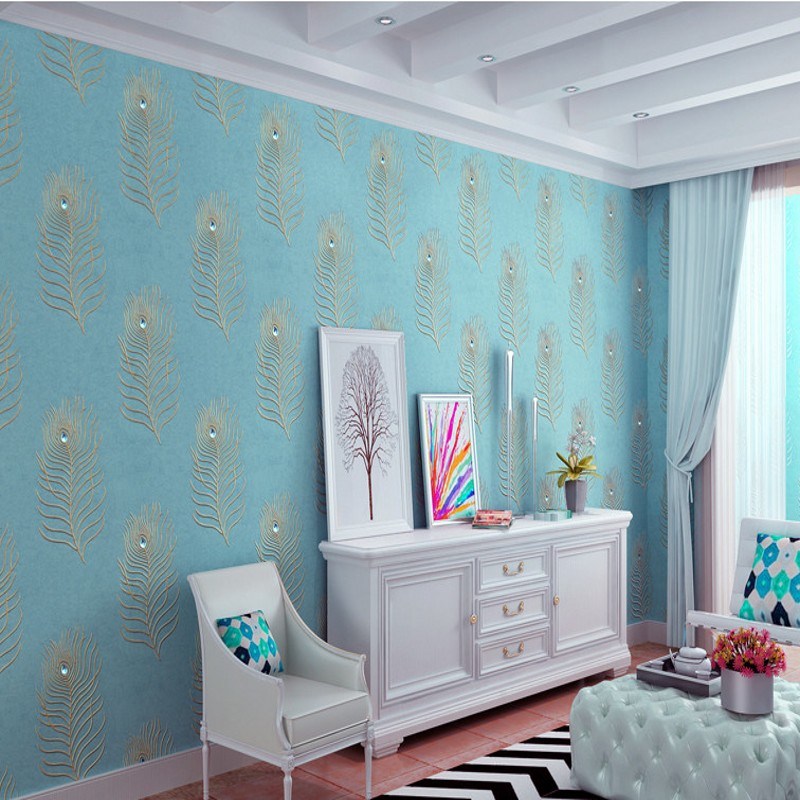 Free Shipping embroidery cloth green wallpaper embroidered feathers TV background bedroom lobby living room wallpaper