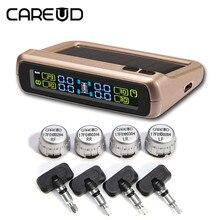 CAREUD Voiture TPMS Système de Surveillance de Pression Des Pneus sans fil Solaire USB Charge Automatique avec 4 capteurs LCD affichage D'alarme Automatique Pour Hyundai
