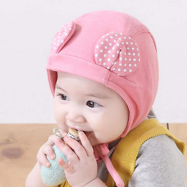 ac3caff1cc7 placeholder Spring Cute Baby Hat with Ears Adjustable Baby Bonnet Enfant  Cap Yellow Pink for 1