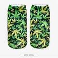Moda Impreso 3D Weed Hoja Verde Unisex Low Cut Tobillo Calcetines de las mujeres de Moda Divertido Brillante Floral de la Planta Natural Casual Chicas calcetines