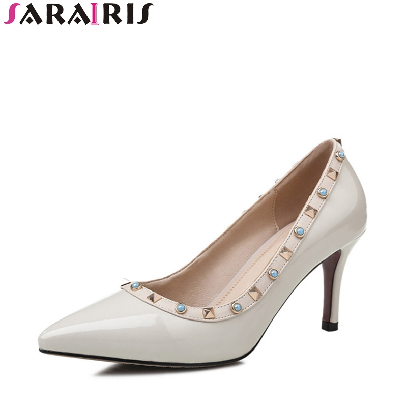 SARAIRIS 2018 Spring Autumn Brand Fashion Genuine Leather Corlorful Crystal Pumps Pointed Toe High Thin Heel Party Shoes Woman sarairis 2018 spring autumn hot sale