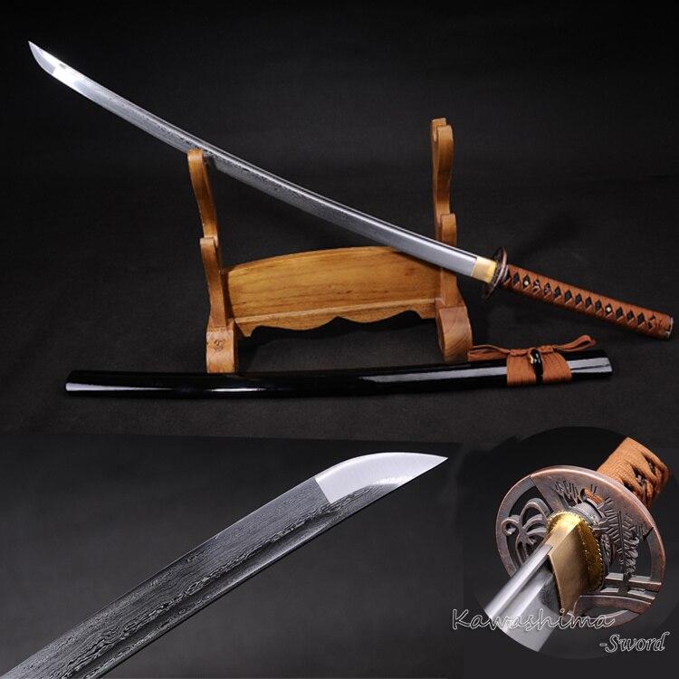 Véritable japonais Katana plié lame en acier pliant 800 couches avec rainure samouraï épée pleine netteté approvisionnement