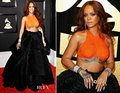 Ph17116 2017 grammy awards red carpet dress orange top colheita preto bola saia vestido rihanna celebridade vestidos