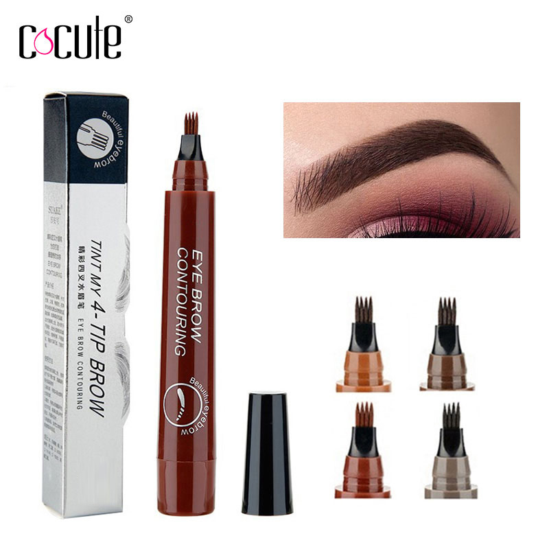 Microblading Eyebrow Pencil Tint 4 Tip Liquid Brow Tattoo Pen 5 Colors Paint Makeup Eyebrows Waterproof Cosmetic Eye brow Liner(China)