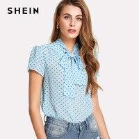 SHEIN Office Women Blouse Blue Tie Neck Semi Sheer Top Summer Print Elegant Short Sleeve Casual