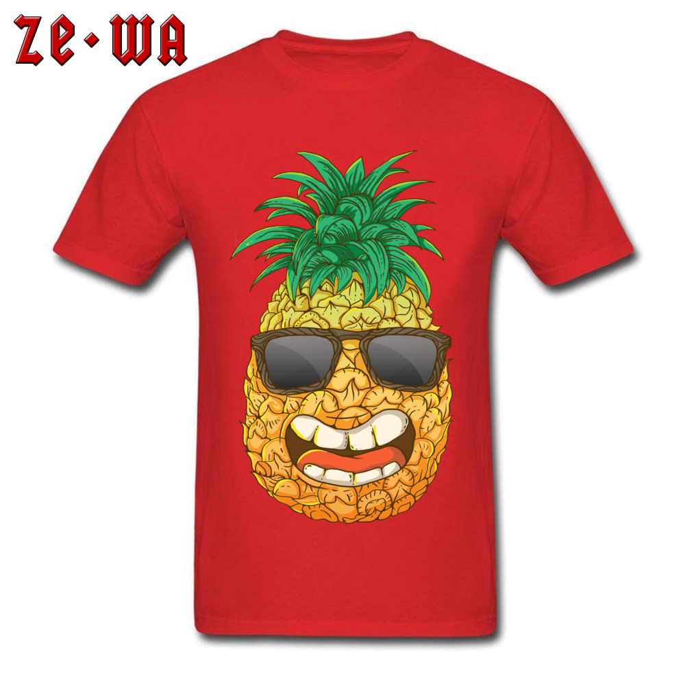 Cool Pineapple Round Neck Top T-shirts Labor Day Tops Shirts Short Sleeve Special Cotton Cool Tops & Tees Custom Student Cool Pineapple red
