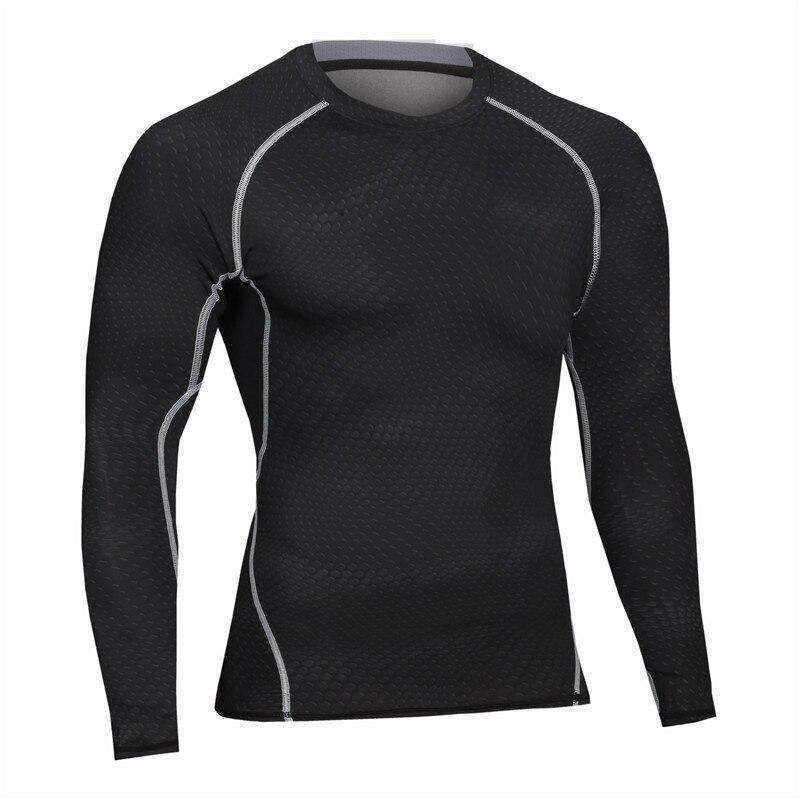 새로운 도착 휘트니스 남자 긴 소매 티셔츠 슬림 피트 남성 열 근육 보디 빌딩 압축 운동 타이츠 티즈
