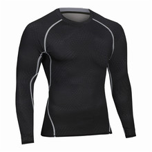 New Arrival Fitness Men Long Sleeve Tshirts Slim Fit Male Thermal Muscle Bodybuilding Compression Exercise Tights Tees