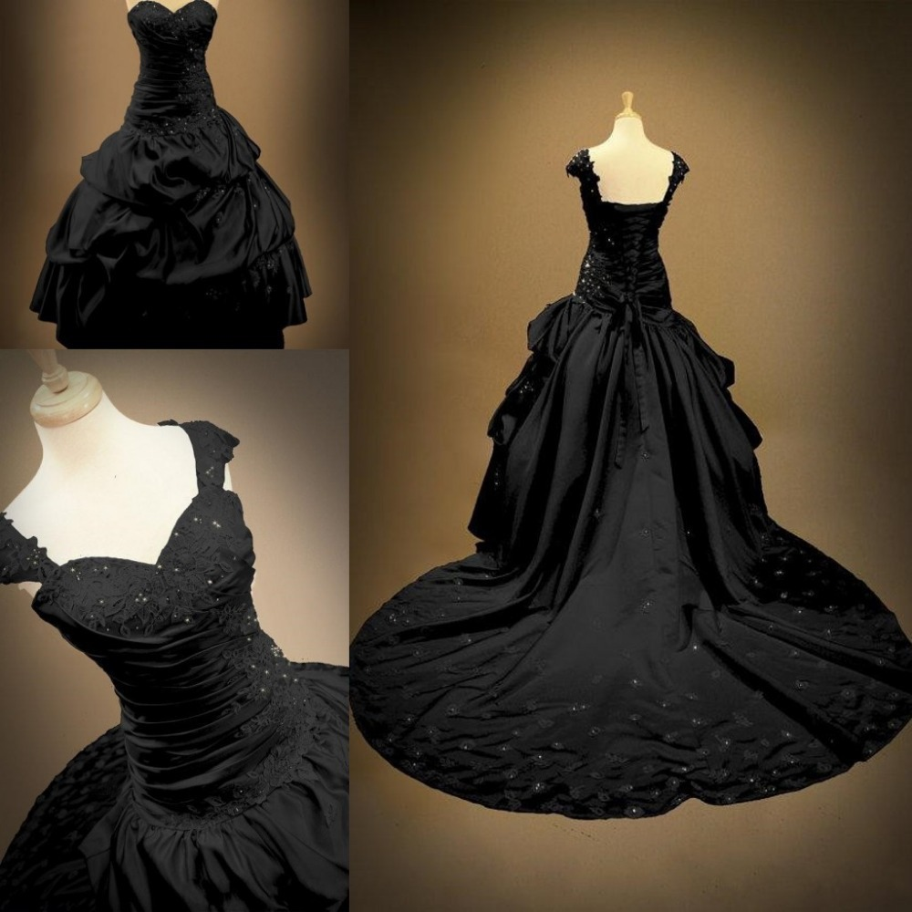2017 Gothic Wedding Dresses Halloween Victorian Bridal: Victorian Ball Gowns Backless Sweetheart Bridal Plus Size