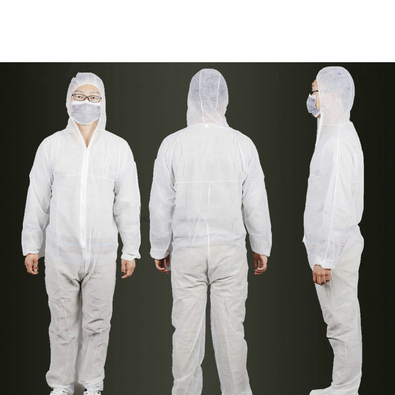 Non-Woven Protective Suit Dust Disposable One-piece garment Membrane Safety Work Clothes B81618 100x white disposable hair dust net caps stretch non woven bouffant spa tan cap