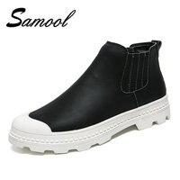 2017 Scarpe Da Uomo Chelsea Boots, Stile Britannico di Moda Stivaletti, Nero/Grigio Brogue Scarpe Casual In Pelle Morbida, Scarpe invernali Uomini WY5