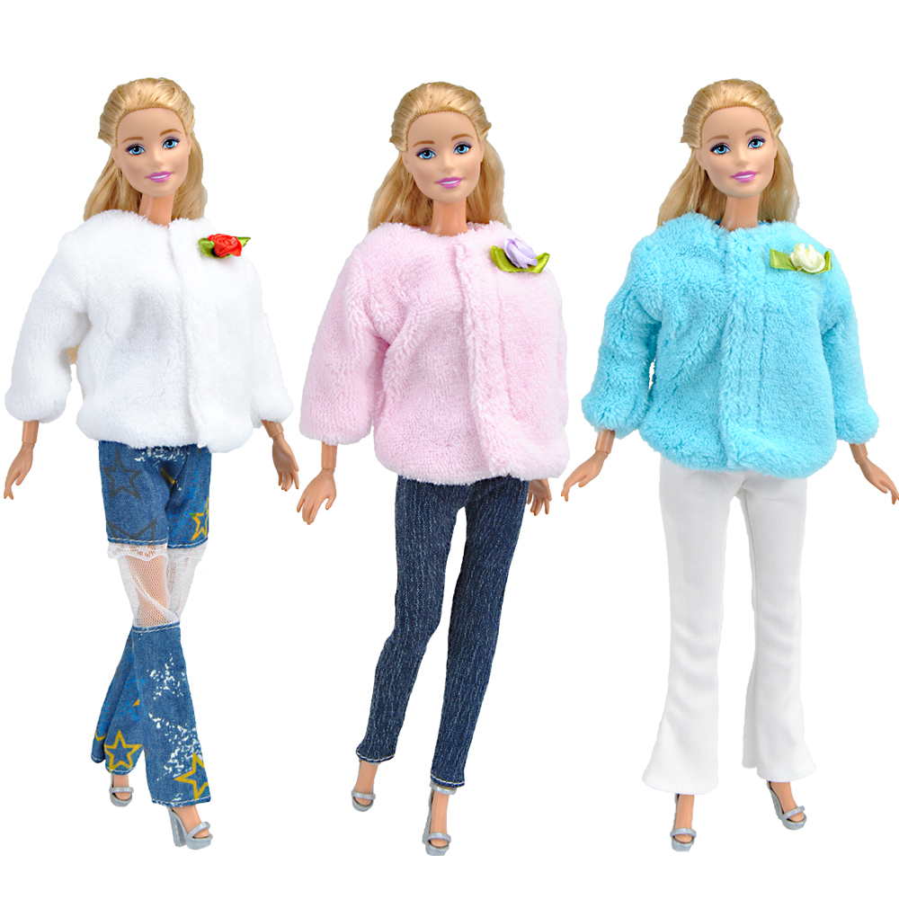 E-TING Handmade Fashion Doll Clothes Winter Clothing Rose Coat Jacket Skinny Star Print Jean Girls Suit For Barbie Accessories 19 styles for choose festival gifts for girls suit knitted handmade sweater tops coat dress bobtail clothes for barbie doll