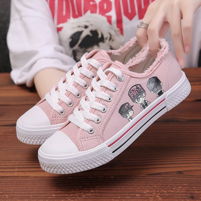 300beb2bcfc US $6.24 22% OFF|Women Flat Cartoon Canvas Shoes 2018 New Summer White Lace  Up Student Board Shoes Ladies Casual Shoes Female Sneakers-in Women's ...