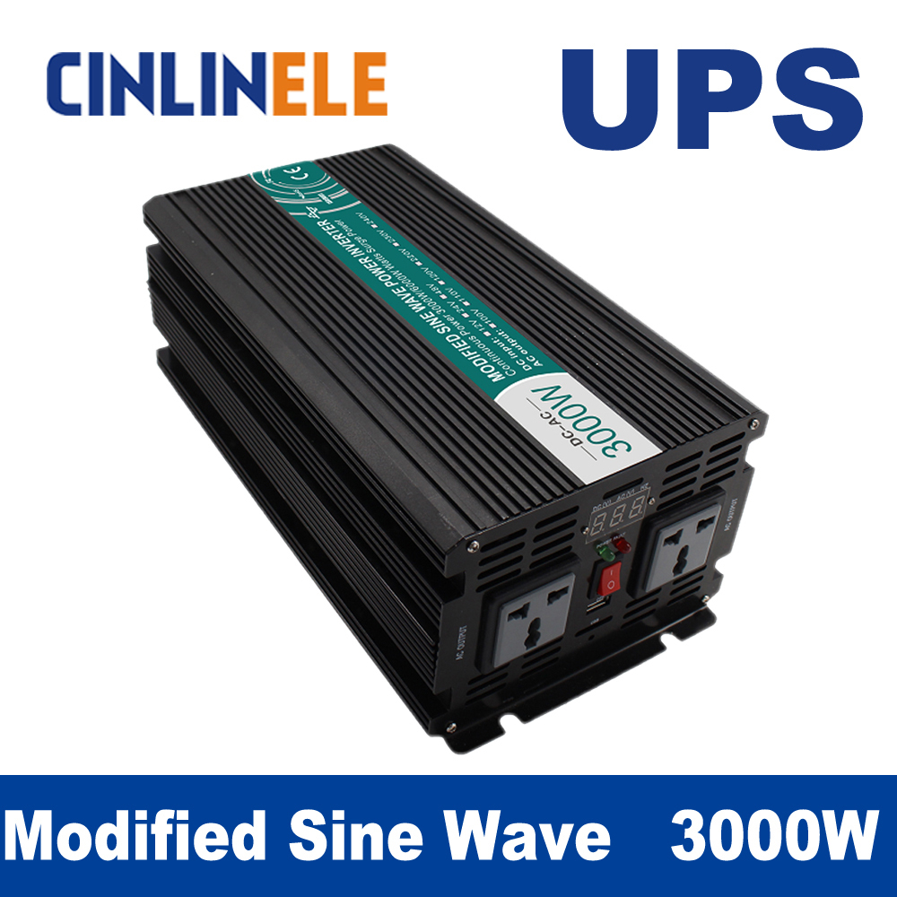 3000W Universal inverter UPS+Charger Modified Sine Wave Inverter CLM3000A DC 12V 24V 48V to AC 110V 220V 3000W Surge Power 6000W 5000w dc 48v to ac 110v charger modified sine wave iverter ied digitai dispiay ce rohs china 5000 481g c ups